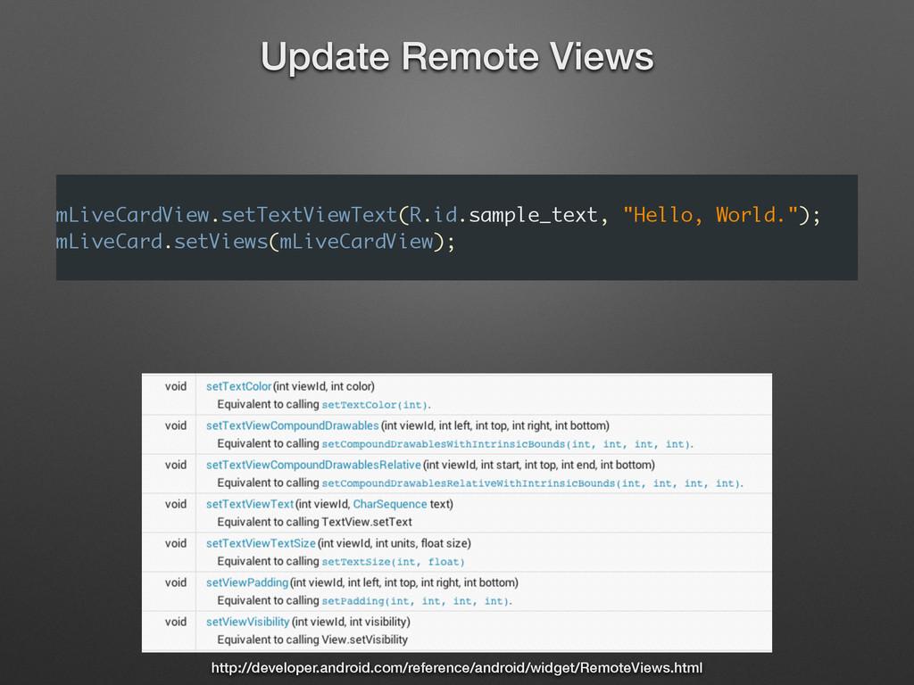 ! mLiveCardView.setTextViewText(R.id.sample_tex...