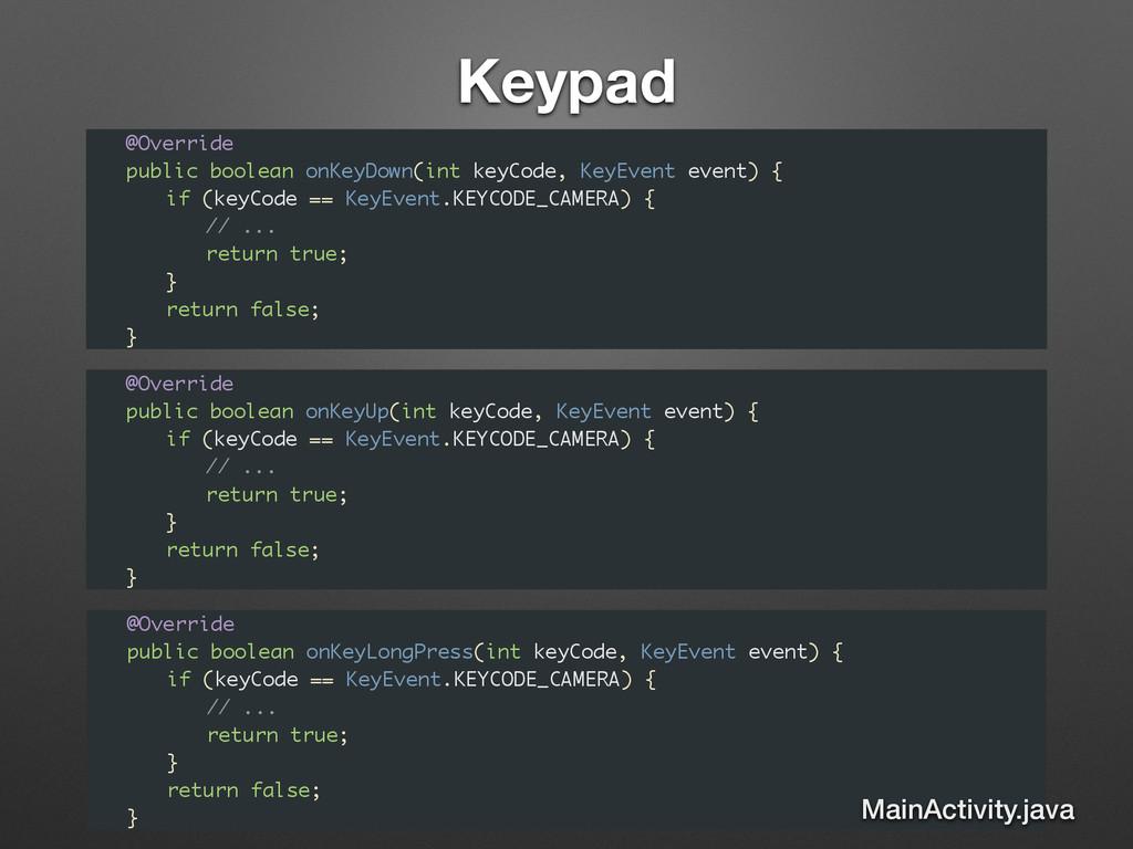 Keypad @Override public boolean onKeyDown(int k...
