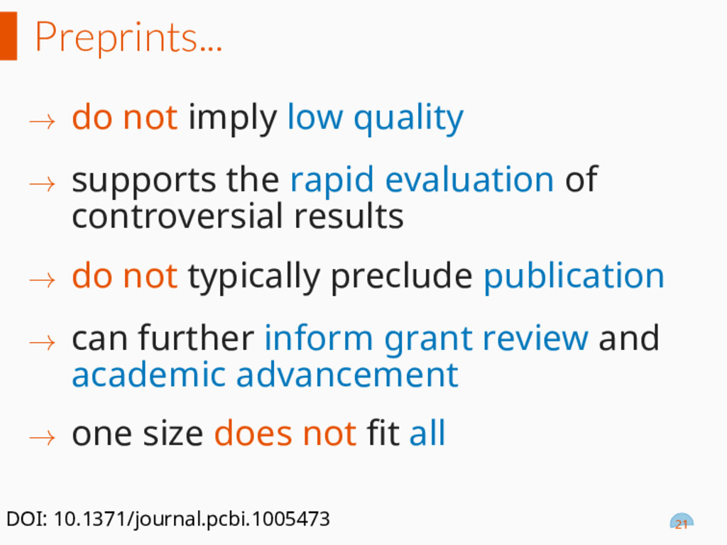 Preprints... → do not imply low quality → suppo...