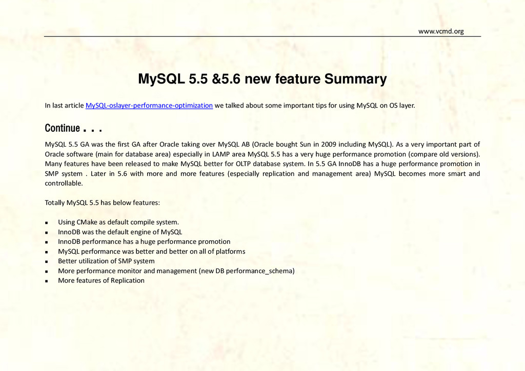 www.vcmd.org MySQL 5.5 &5.6 new feature Summary...