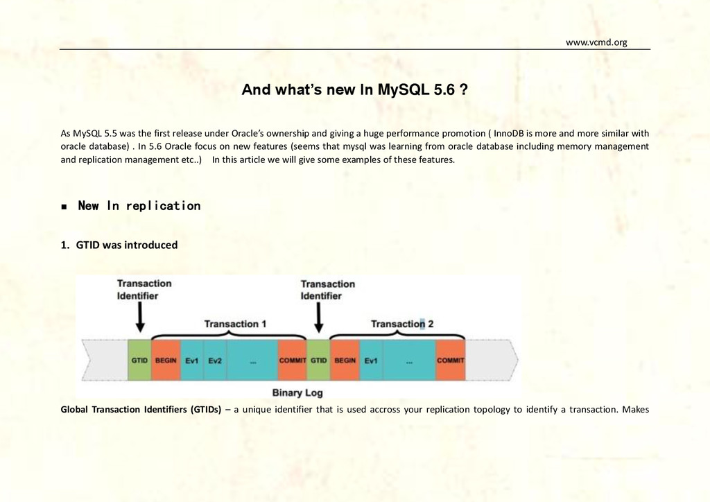 www.vcmd.org And what's new In MySQL 5.6 ? As M...