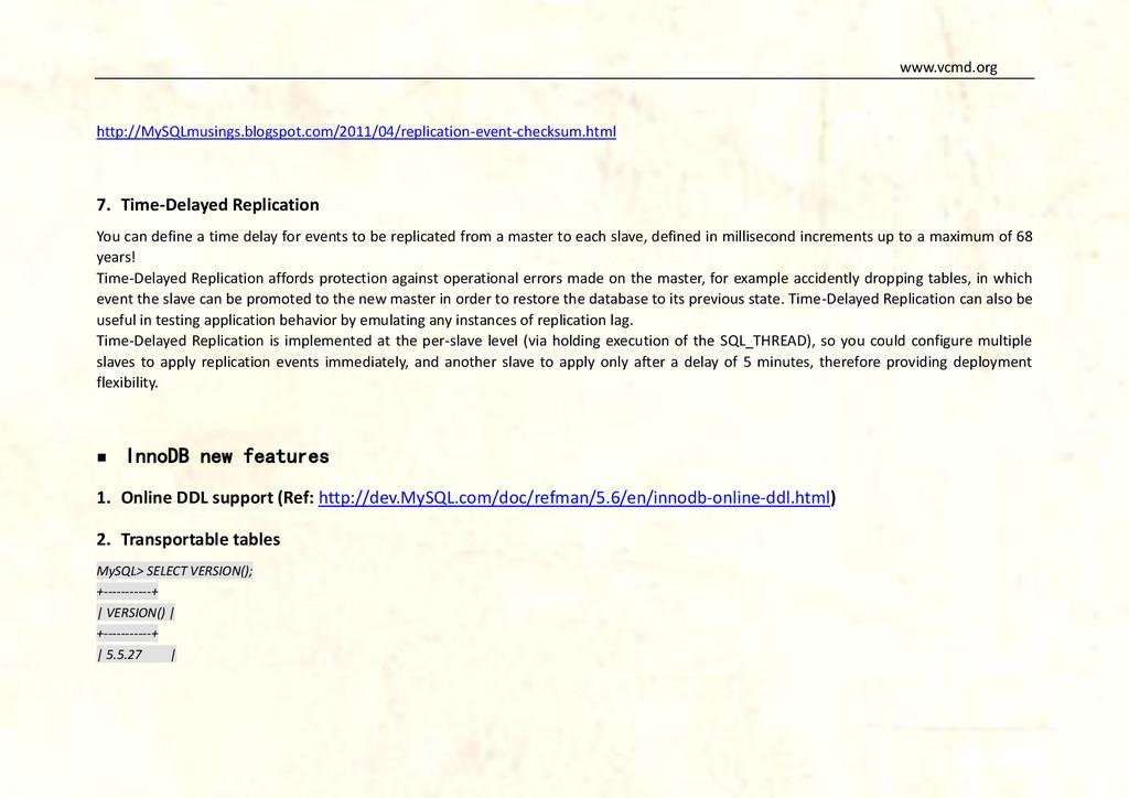 www.vcmd.org http://MySQLmusings.blogspot.com/2...