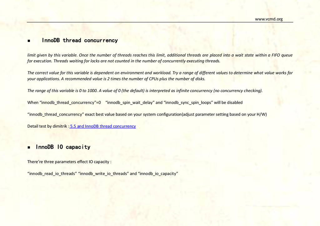 www.vcmd.org  InnoDB thread concurrency limit ...