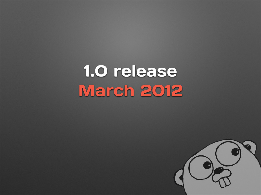1.0 release March 2012