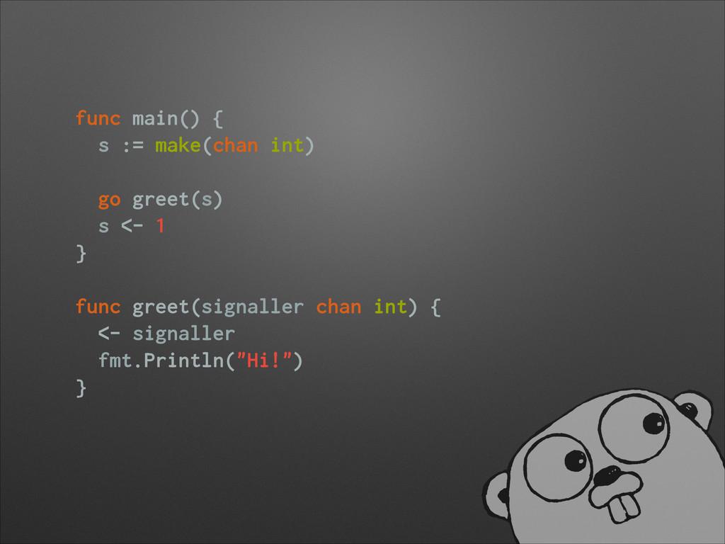 func main() { s := make(chan int) ! go greet(s)...