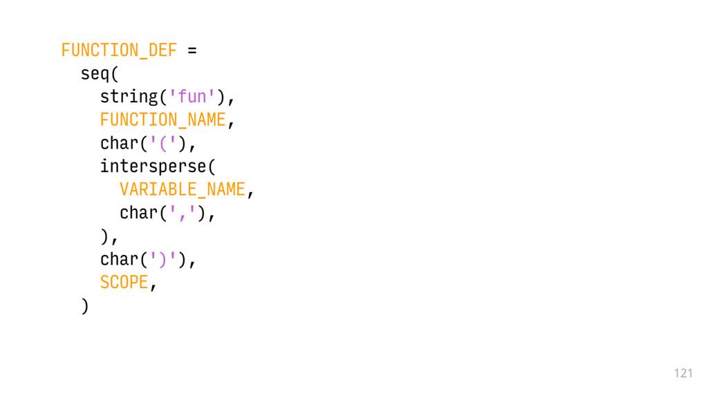 121 FUNCTION_DEF = seq( string('fun'), FUNCTION...