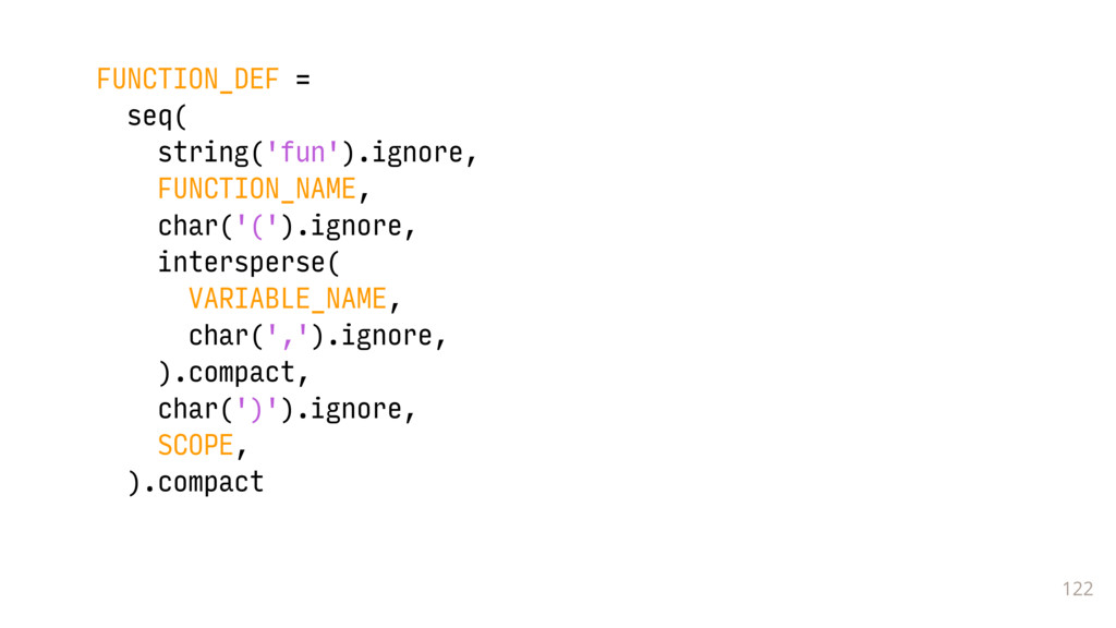 122 FUNCTION_DEF = seq( string('fun').ignore, F...