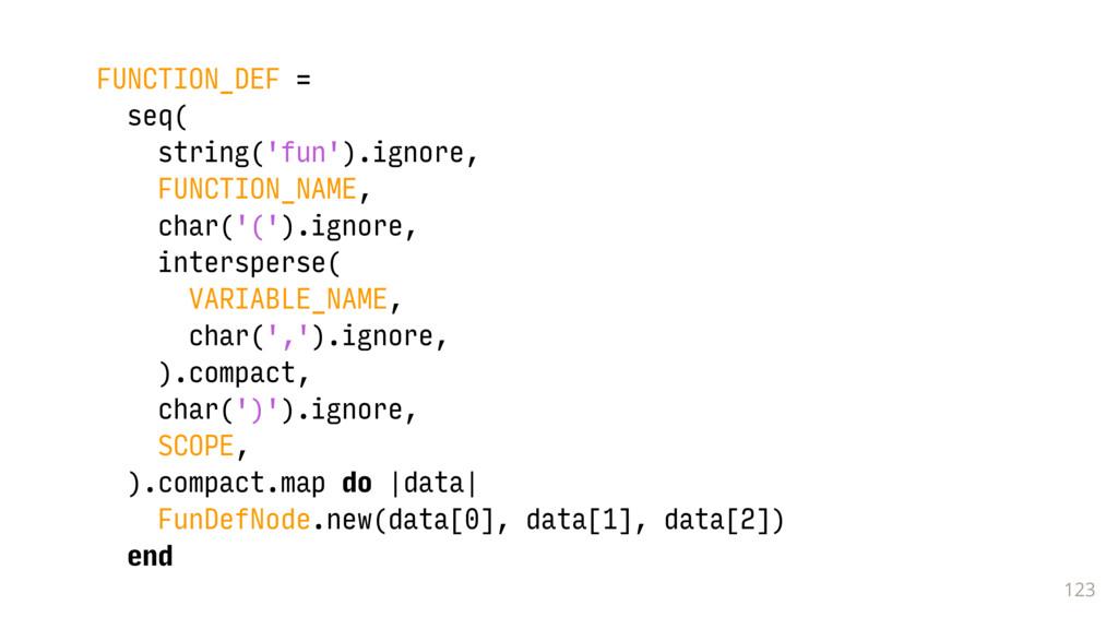 123 FUNCTION_DEF = seq( string('fun').ignore, F...