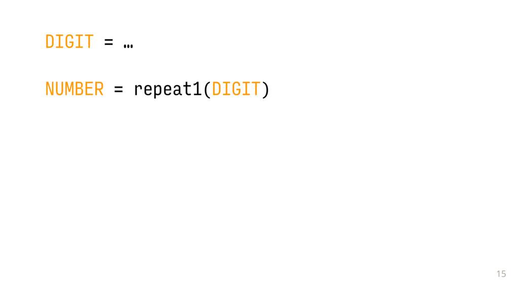 15 DIGIT = … NUMBER = repeat1(DIGIT)