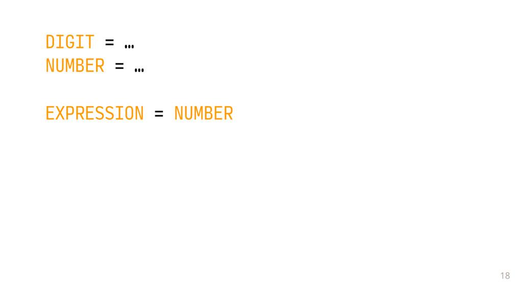 18 DIGIT = … NUMBER = … EXPRESSION = NUMBER  ...