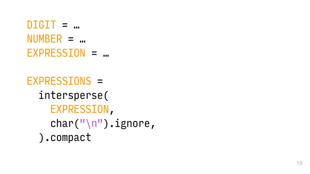 19 DIGIT = … NUMBER = … EXPRESSION = … EXPRESSI...