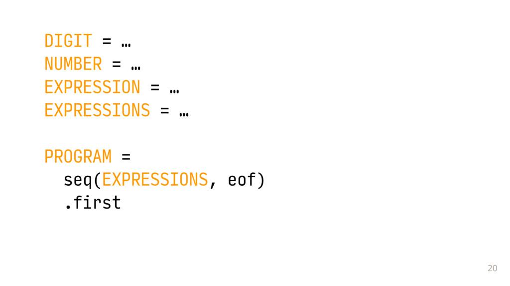 20 DIGIT = … NUMBER = … EXPRESSION = … EXPRESS...