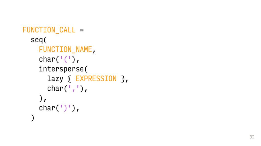 32 FUNCTION_CALL = seq( FUNCTION_NAME, char('('...