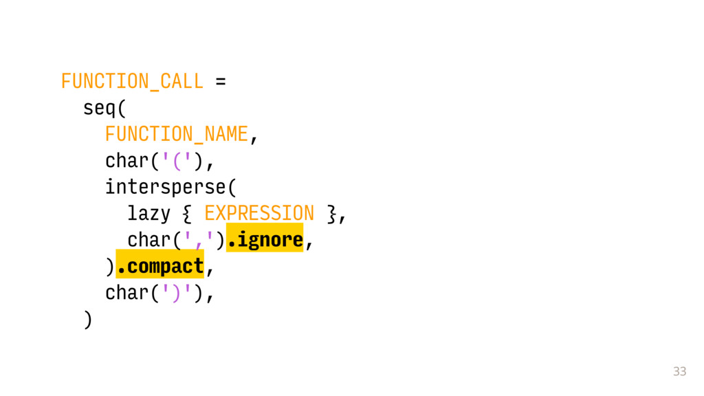 33 FUNCTION_CALL = seq( FUNCTION_NAME, char('('...