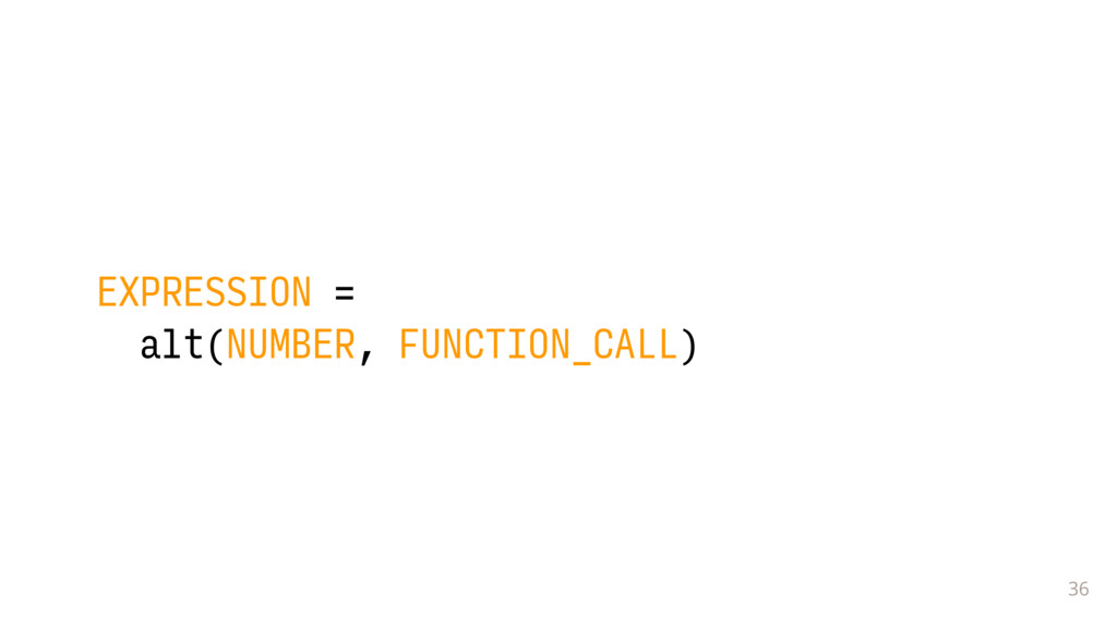 36 EXPRESSION = alt(NUMBER, FUNCTION_CALL)
