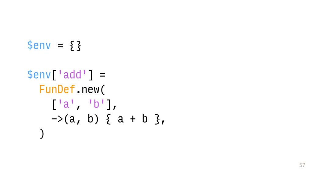 57 $env = {} $env['add'] = FunDef.new( ['a', 'b...