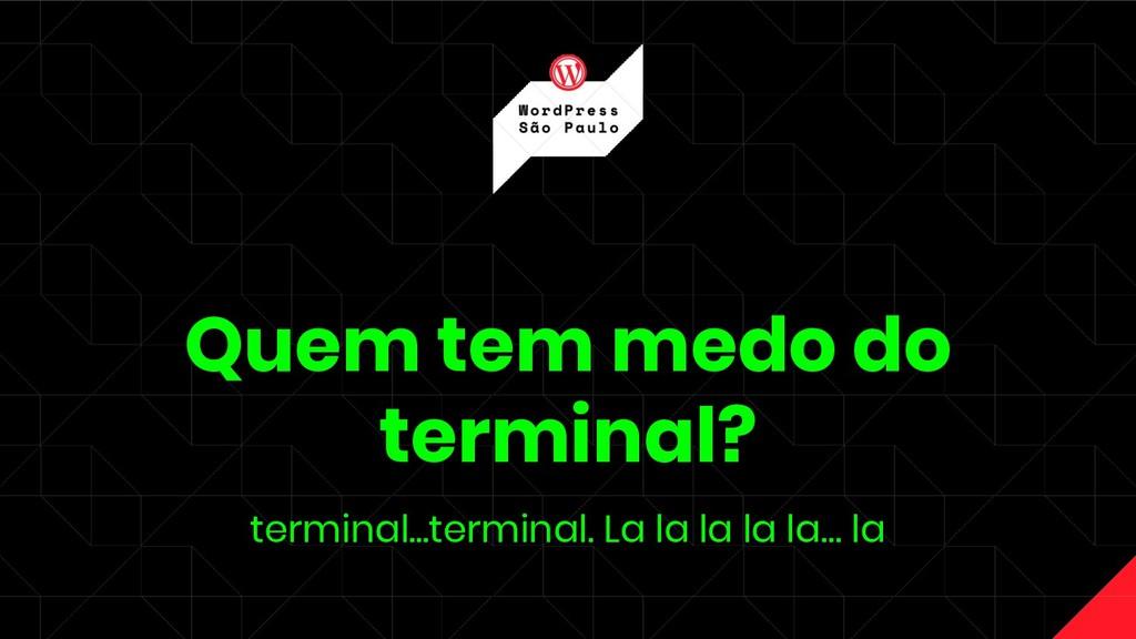 Quem tem medo do terminal? terminal...terminal....