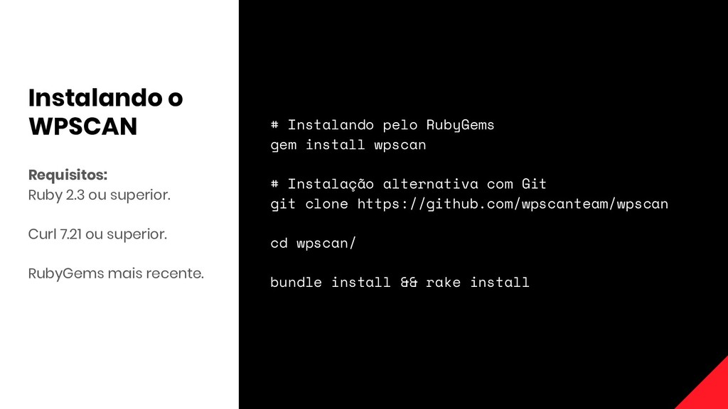 Requisitos: Ruby 2.3 ou superior. Curl 7.21 ou ...