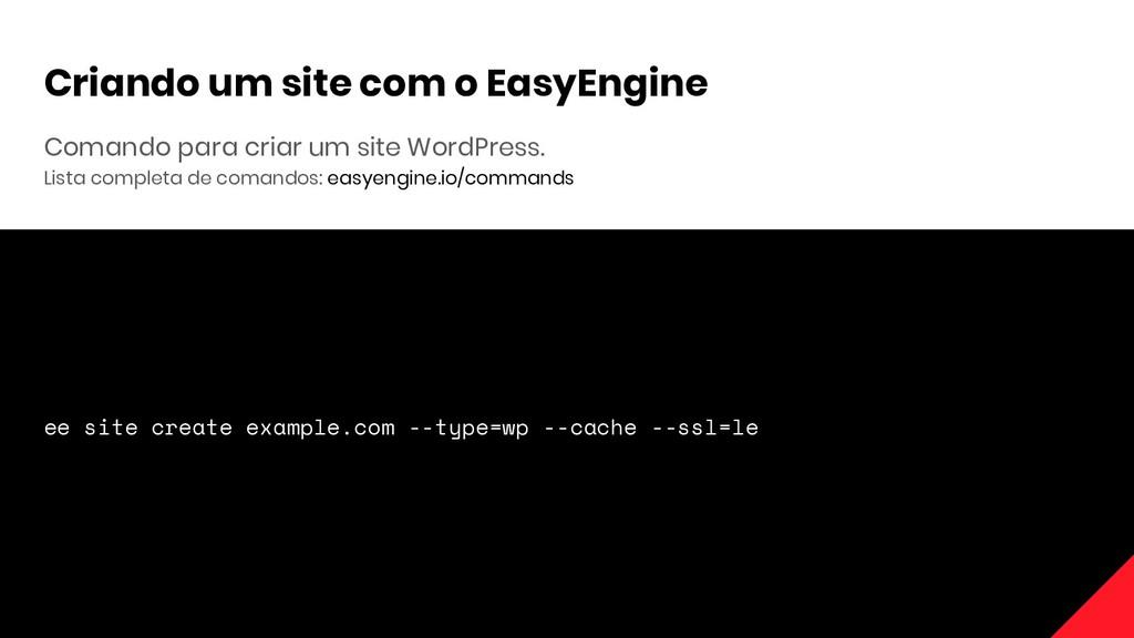 Comando para criar um site WordPress. Lista com...