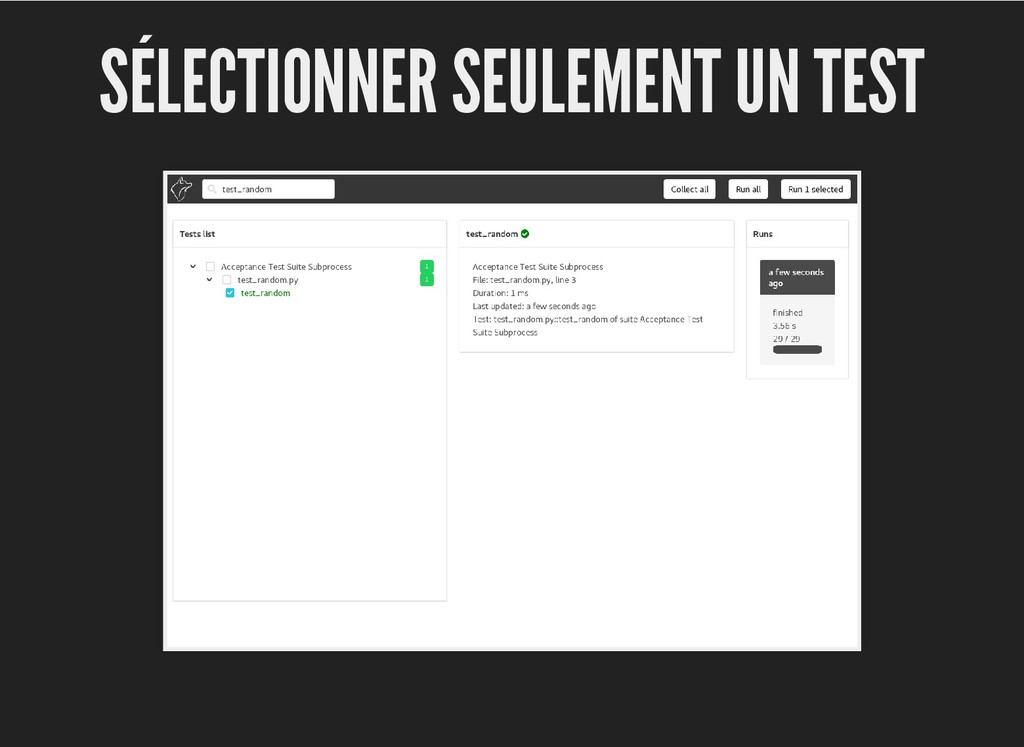 SÉLECTIONNER SEULEMENT UN TEST SÉLECTIONNER SEU...
