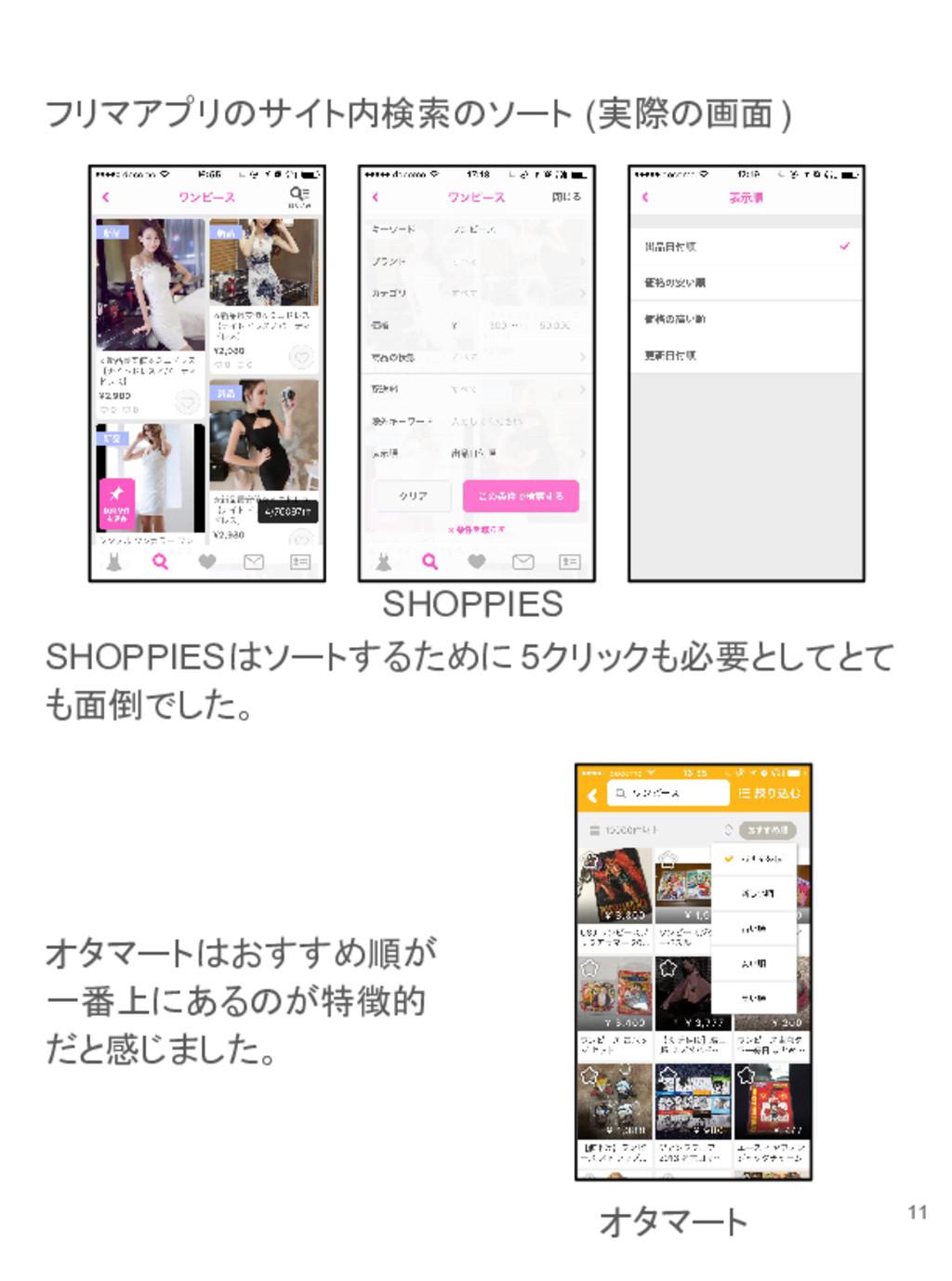 フリマアプリのサイト内検索のソート (実際の画面) SHOPPIESはソートするために 5クリ...