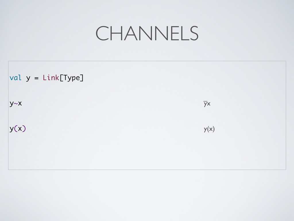 val y = Link[Type] y~x yx y(x) y(x) CHANNELS _