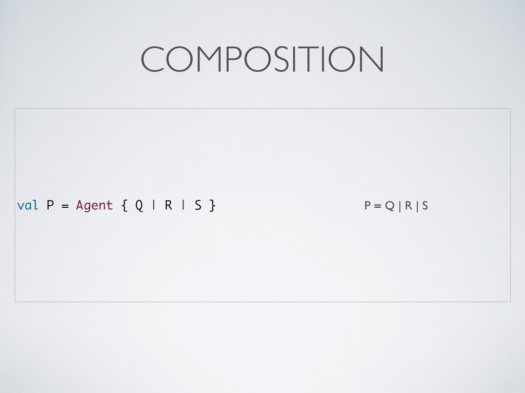 val P = Agent { Q | R | S } P = Q | R | S COMPO...