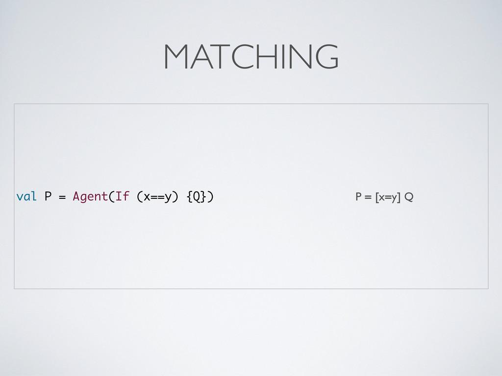 val P = Agent(If (x==y) {Q}) P = [x=y] Q MATCHI...