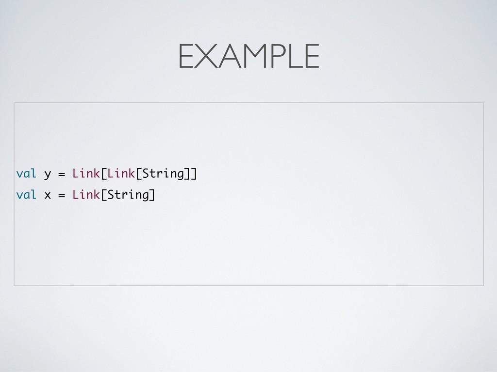 val y = Link[Link[String]] val x = Link[String]...