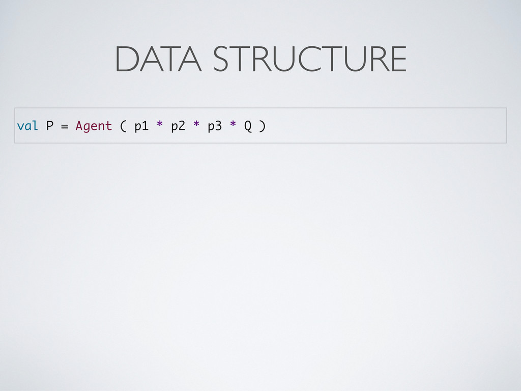 val P = Agent ( p1 * p2 * p3 * Q ) DATA STRUCTU...