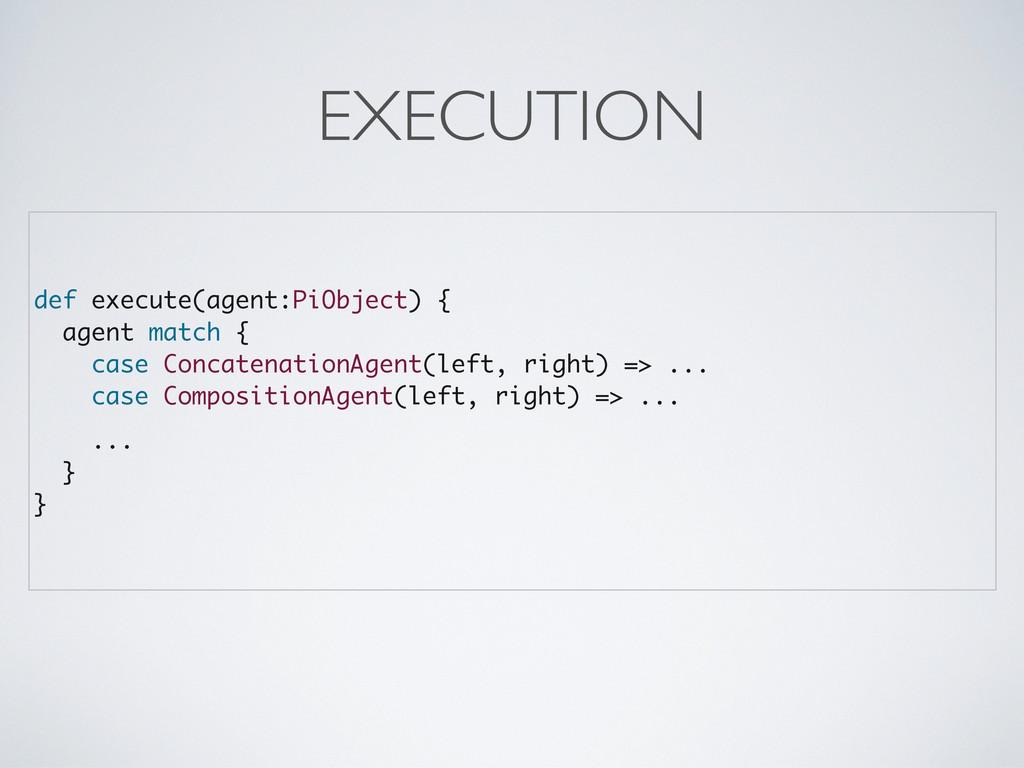 def execute(agent:PiObject) { agent match { cas...