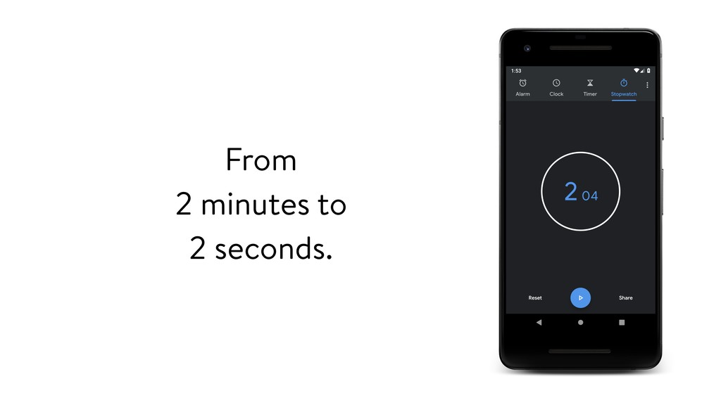 From 2 minutes to 2 seconds.