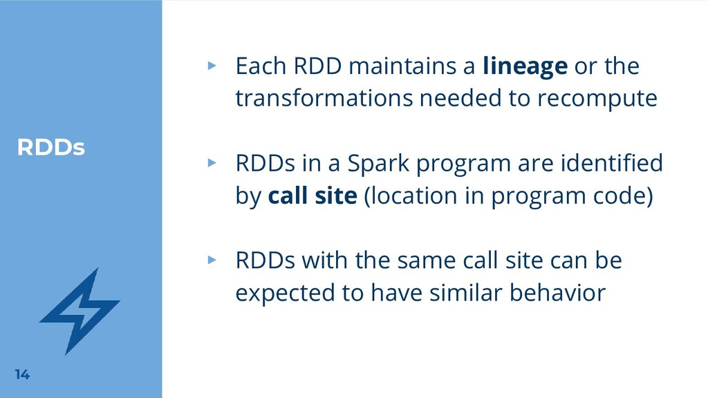 RDDs ▸ Each RDD maintains a lineage or the tran...
