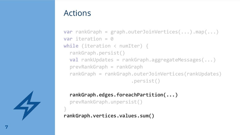 Actions var rankGraph = graph.outerJoinVertices...