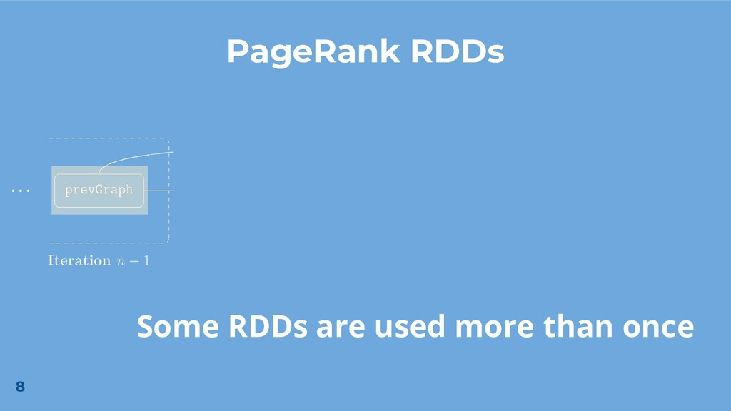 8 PageRank RDDs Some RDDs are used more than on...