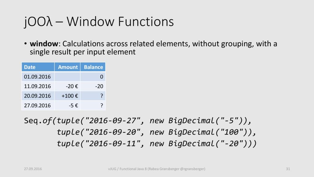 jOOλ – Window Functions • window: Calculations ...