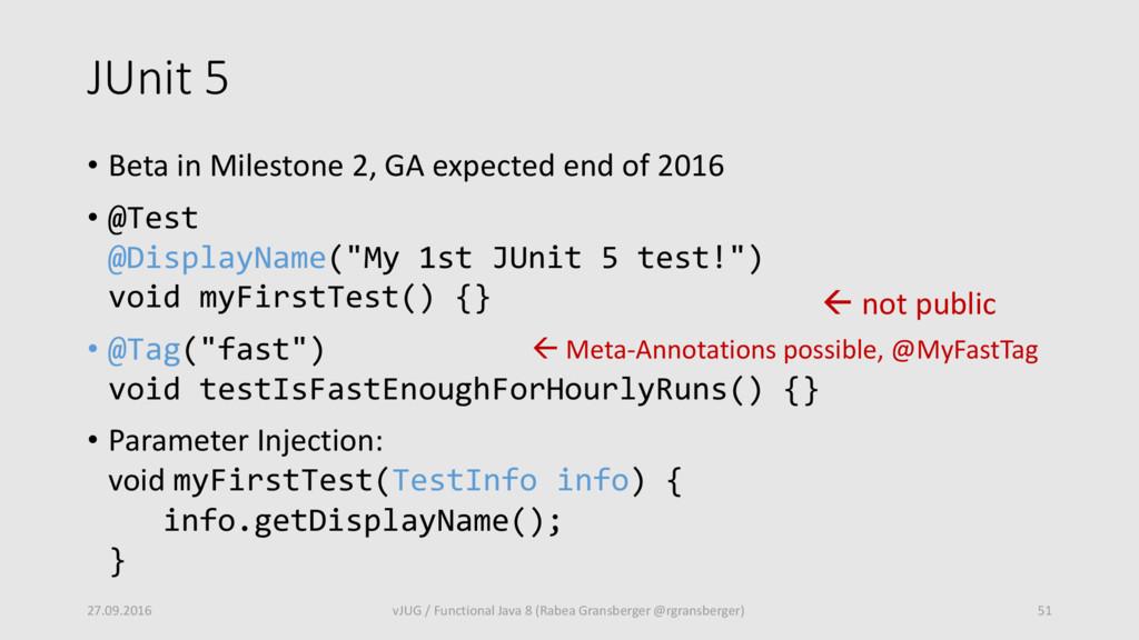 JUnit 5 • Beta in Milestone 2, GA expected end ...