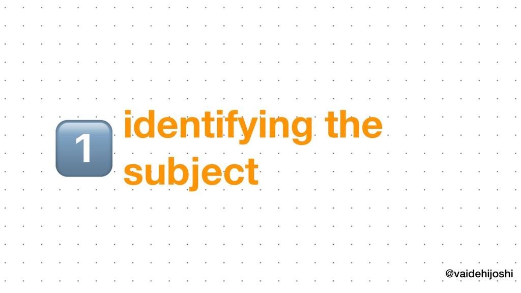 @vaidehijoshi identifying the subject %