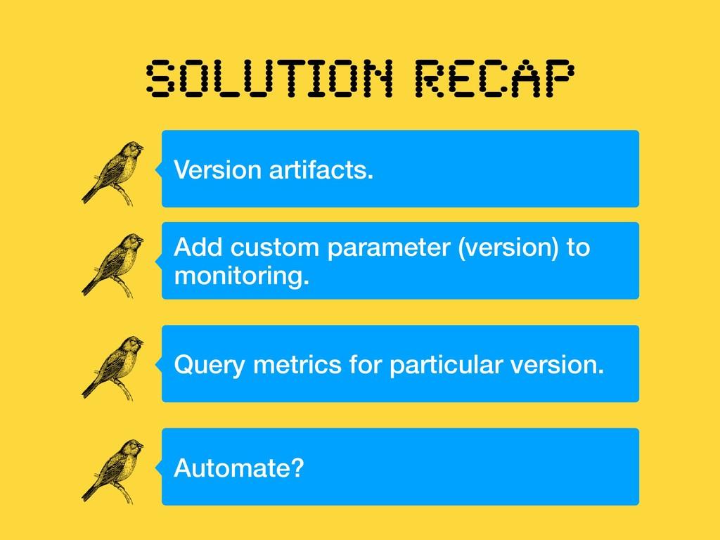 SOLUTION RECAP Version artifacts. Add custom pa...