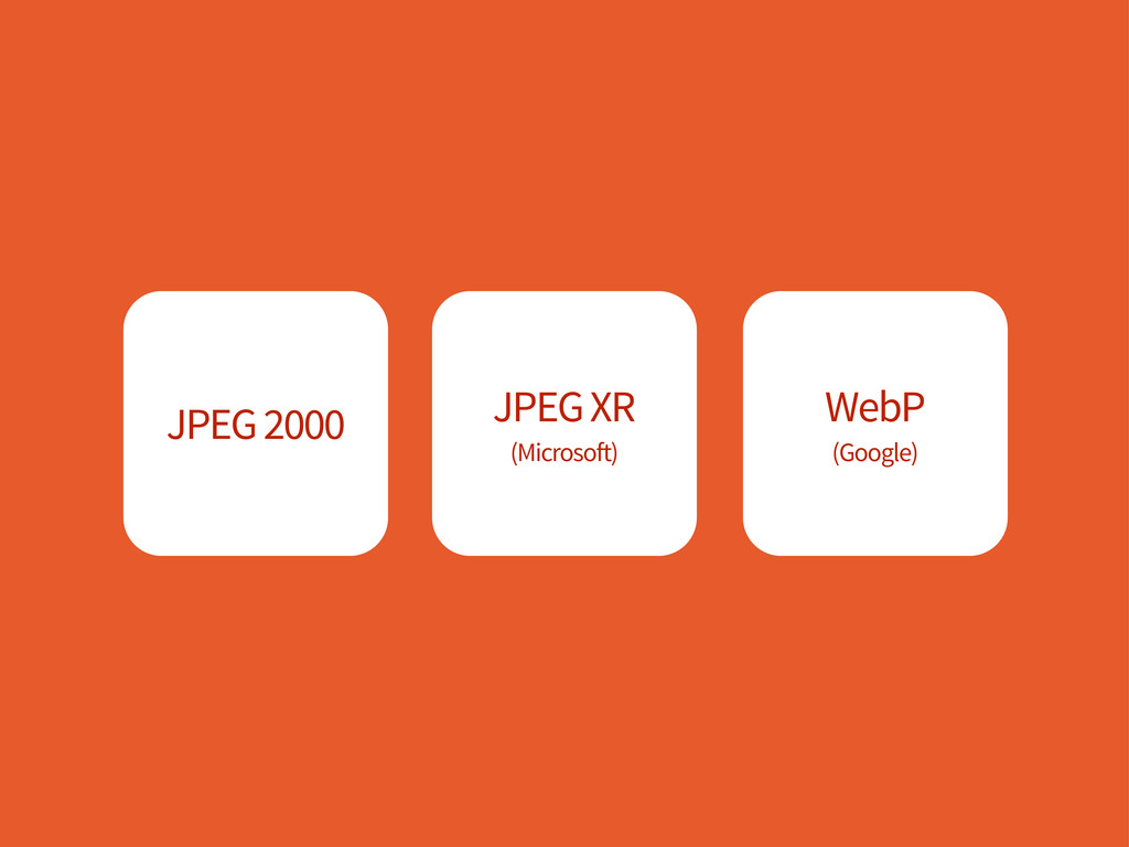 JPEG 2000 JPEG XR (Microsoft) WebP (Google)