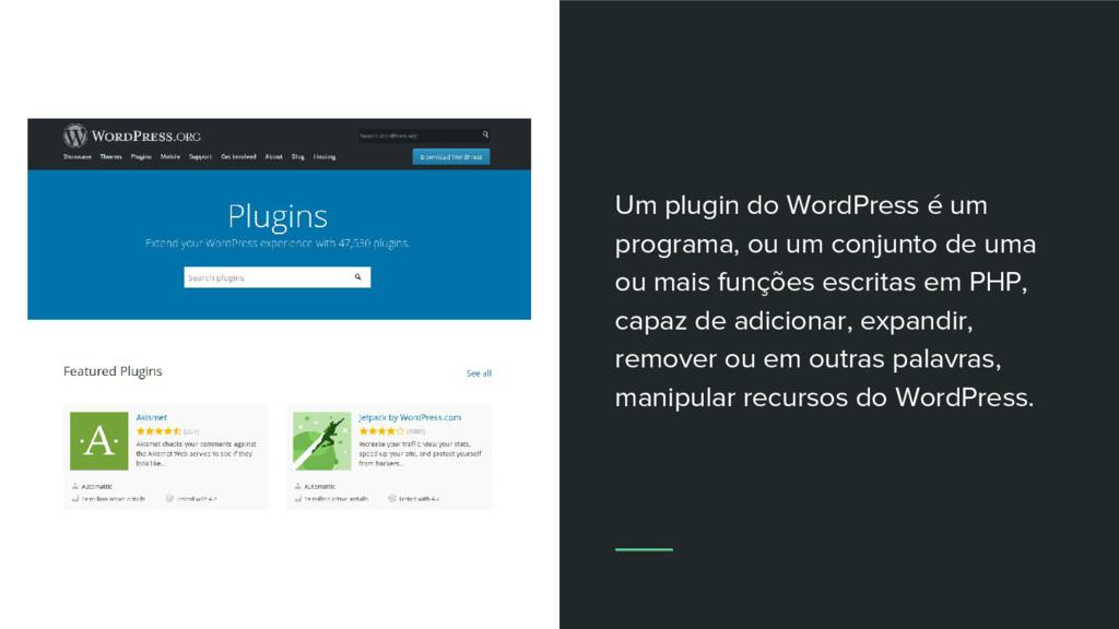 Um plugin do WordPress é um programa, ou um con...