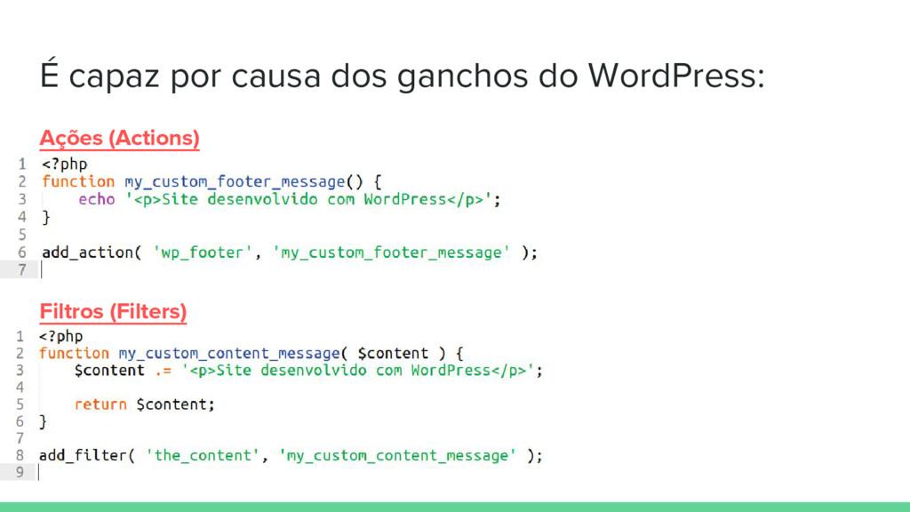 É capaz por causa dos ganchos do WordPress: Açõ...
