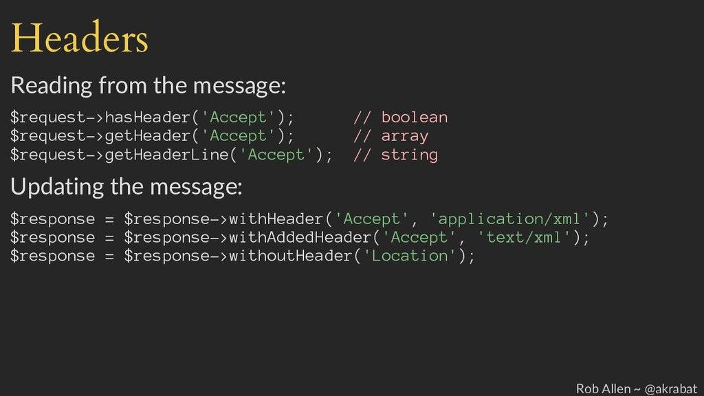 Headers Reading from the message: $request->has...