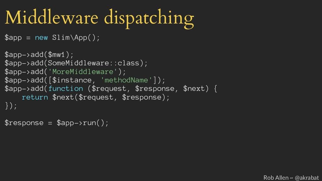 Middleware dispatching $app = new Slim\App(); $...