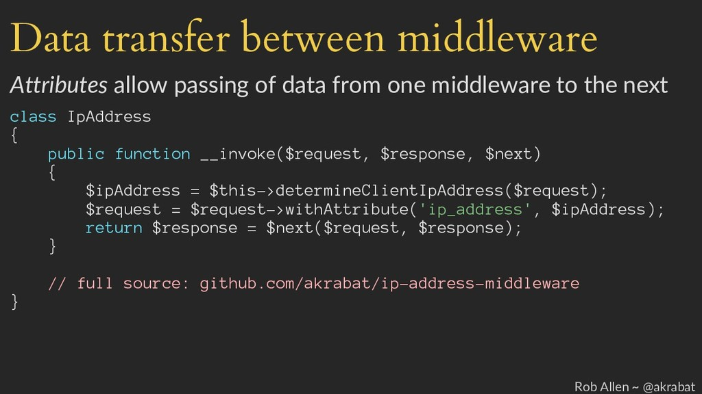 Data transfer between middleware Attributes all...