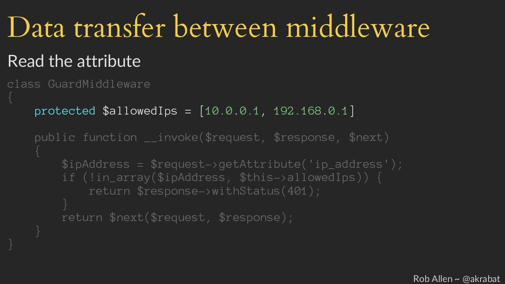 Data transfer between middleware Read the attri...