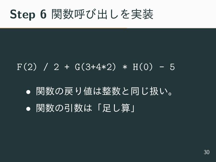 Step 6 ؔݺͼग़͠Λ࣮ F(2) / 2 + G(3+4*2) * H(0) - 5...