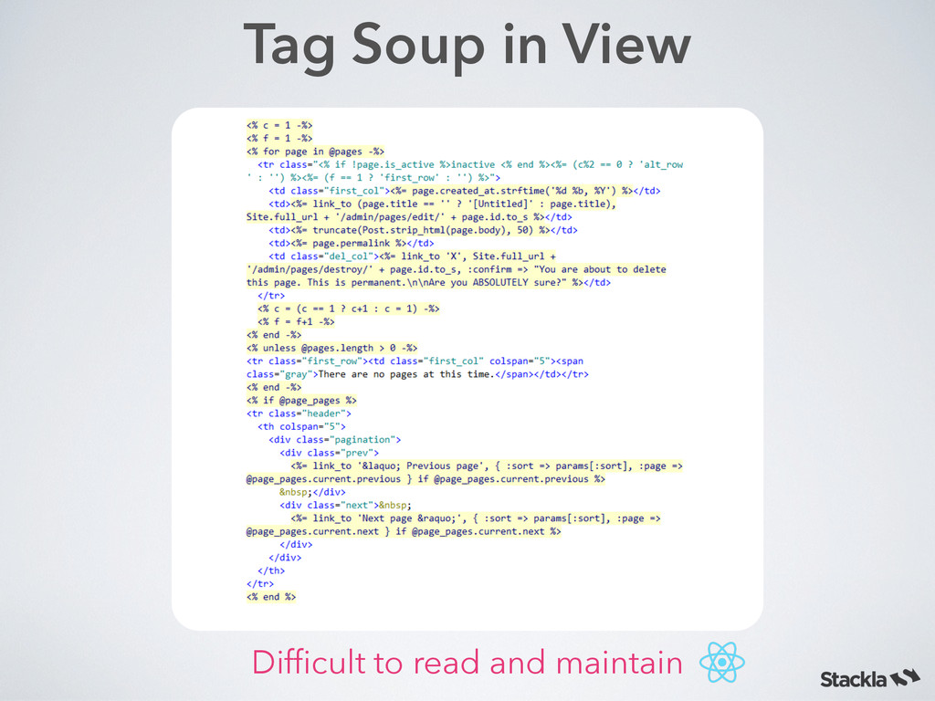 Tag Soup in View Difficult to read and maintain