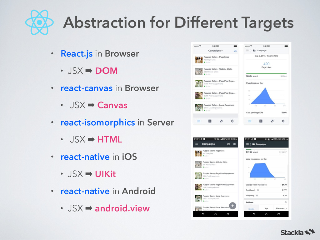 Abstraction for Different Targets • React.js in...