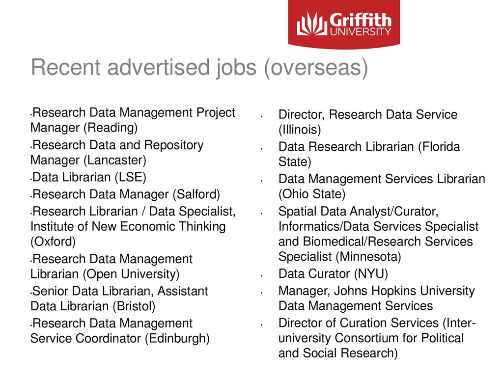 Recent advertised jobs (overseas) • Research Da...